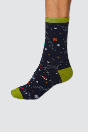 Thought UNDERWEAR & PYJAMAS | Mens 7-11 / Black Space Socks Dark Navy and Green