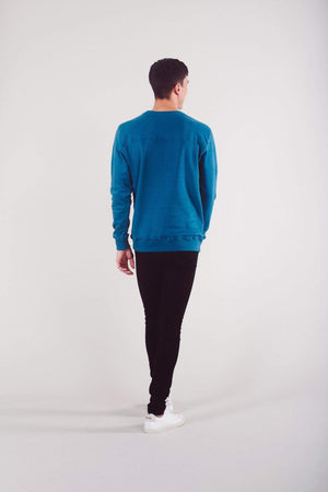 Know The Origin ACTIVEWEAR & LOUNGEWEAR | Mens Sundar Organic Cotton Sweatshirt Pacific Blue
