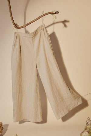 Wide Leg Linen Trousers Oat TROUSERS & JEANS | Womens Kaely Russell
