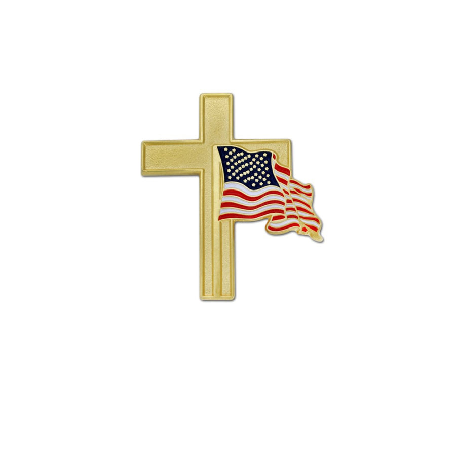 Beautiful Gold Cross - American Flag Lapel Pin
