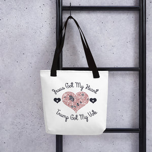Jesus Got My Heart Trumo Got My Vote Tote bag