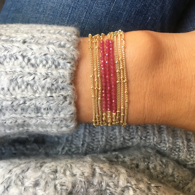 Bracelet multitours SAPHIR rose