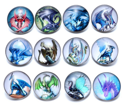 Dragons Set of 12-18mm Snap Buttons Set A or Set B  Silver Alloy Unisex Trend