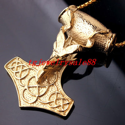 Thor Hammer Gold Tone Sheep Pendant Necklace Stainless Steel Chain