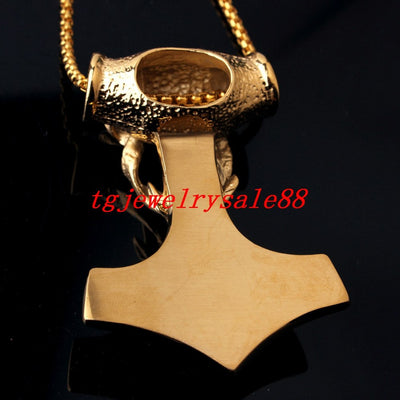 "Large Thor Hammer Sheep Gold Stainless Steel 3"" Pendant w/ Chain Necklace"
