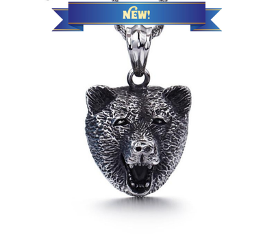 "Bear Pendant Stainless Steel 24"" Chain Necklace"