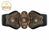 Medieval Relic Buckle Black Stretch Wide Belt Sizes (S) (M) (L)