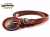 "Ocean Wave Embossed Leather Thin Belt Black, Red & Camel Retro Buckle 32""-38"""