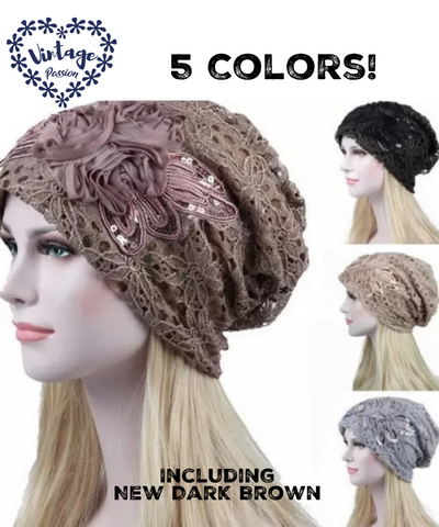 Romantic Vintage Lace Polyester Beanie Turban 5 Colors Hat