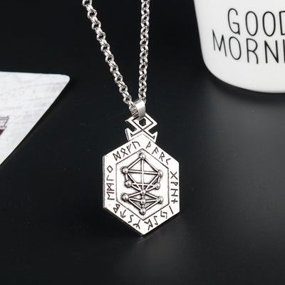 Viking/Norse Rune Talisman Hand Crafted Zinc Pendant With Chain Necklace Unisex
