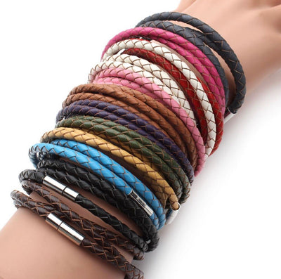 "Braided Leather 3-Wrap Bracelet 23.6"" 13 Colors Magnetic"