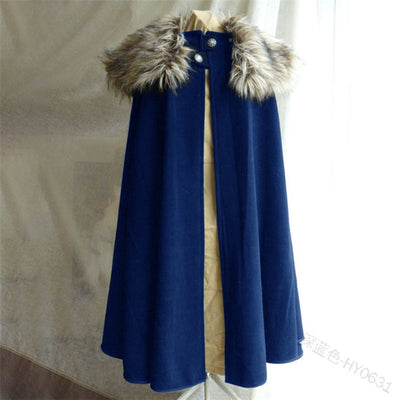 Vikings Vintage Black Blue Brown Gray or Navy Cape Polyester w/ Fur Collar Cloak