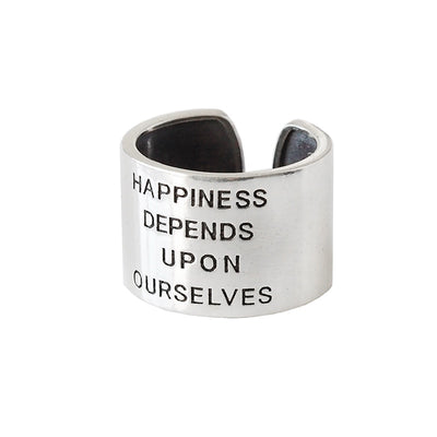 Happiness Depends Upon Ourselves 925 Sterling Silver Vintage Wide Open-Back Ring