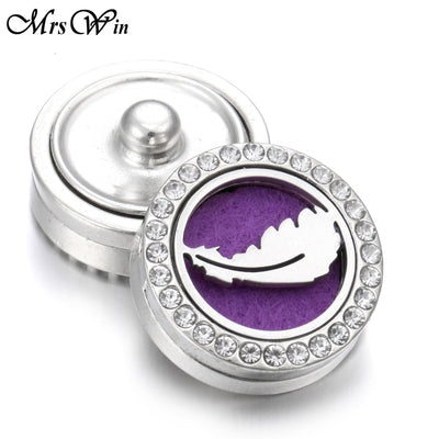 Feather Silver 5 Designs Perfume Diffuser 18 mm Snap Button