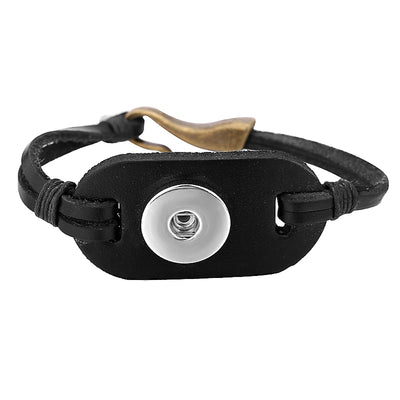 "Retro Leather Brown or Black 18 mm Snap Button 8"" Bracelet"
