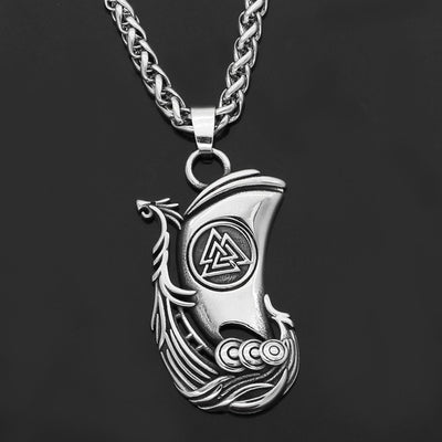 Dragon Longboat Valknut Silver Stainless Steel Pendant or w/ Wheat Necklace