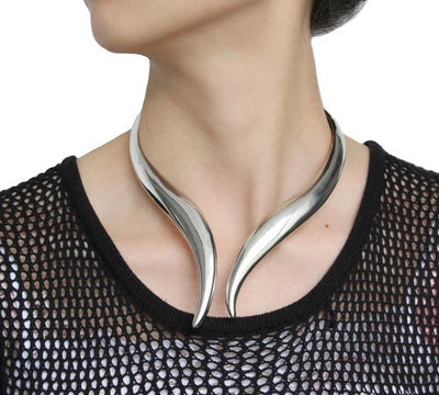 Ancient-look Open Collar Choker Gold or Silver Alloy Necklace