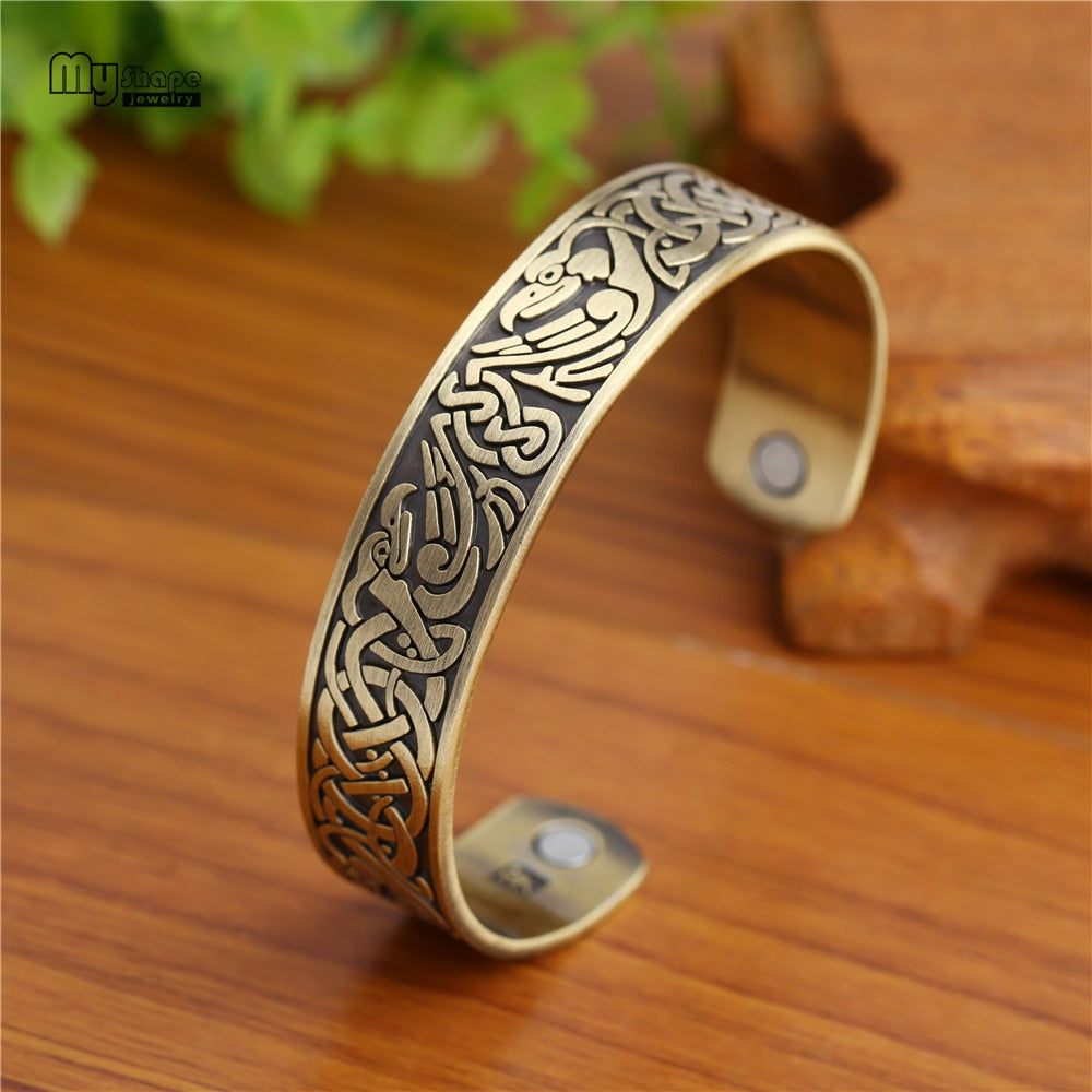 Viking Wolf and Celtic Knot Bracelet Megnetic Health Care Cuff Bangle Bracelet for Men