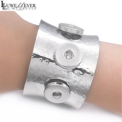 Bold Replica Hammered Bracelet 3-Snap Button 18/20 mm Cuff Snap Button