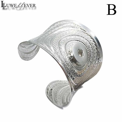 Bold Elegant Vintage Snap Button 18/20 mm Silver-Tone Cuff Snap Button