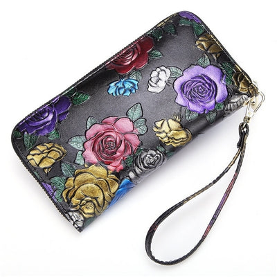 Colorful Floral Vintage Black Leather Long Zipper Wallet and Cell Phone Case