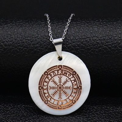 "Helm of Awe Viking Protection & Runes White Shell & Stainless Steel 3 Colors w/ 20"" Necklace"