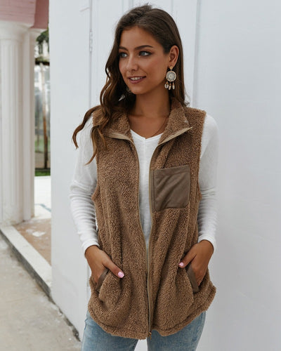 Nature Lover Cozy Sherpa Plush Long Terracotta/Gray/ Brown/Black Vest Jacket S6-XL20