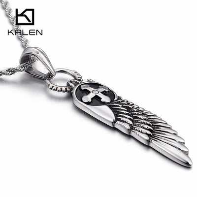 "Feather and Antique Cross Silver Vintage Stainless Steel Pendant 20/22/24"" Necklace"