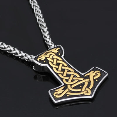 Impressive 3-Color Thor Hammer Stainless Steel Pendant or w/ Wheat Necklace