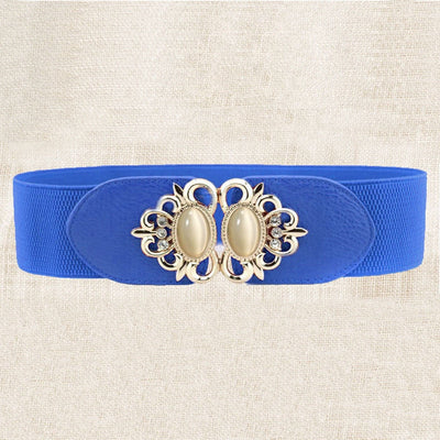 "Pretty Retro Blue Stretch Belt w/ Opal & Gold Buckle Fits 24""- 41"" Waist"