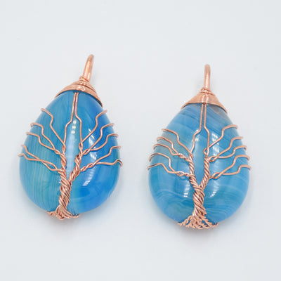 Sky Blue Agate Natural Gem World Tree Rose Gold Wire Hand  Wrapped Pendant