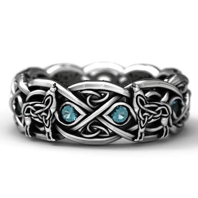 Viking Wolf Blue CZ Stainless Steel Size 7-11 Ring