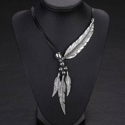 Feather Vintage Alloy Necklace 3 Choice Brown/Gold Or Black/Gold Or Black/Silver