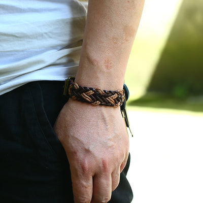 Real Leather & Braided Hemp Rope Bracelet 8""