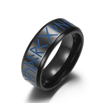 Viking Glow-in-the-Dark Rune Metal Choice: Silver Black Gold Size 7-12 Unisex Ring