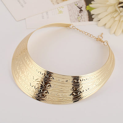 Viking Goddess Collar Choker Golden or Silver Zinc Alloy Statement Necklace