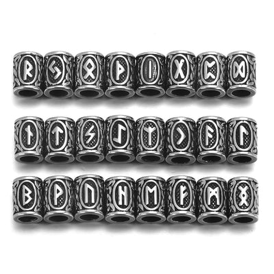 24pcs Norse Elder Futhark Runes Lg. Stainless Steel Hair & Beard Beads