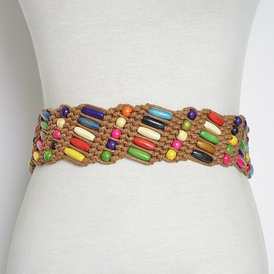 "Handcrafted Colorful Wooden Beaded  Belts 65"" in Beige or Brown"