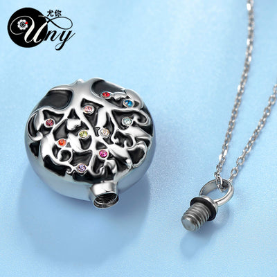 "Viking World Tree Stainless Silver Perfume or Ashes Urn 19.5"" Necklace Unisex"