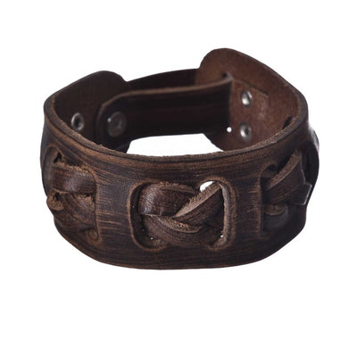 Norse Braid Retro Wide Genuine Leather Cuff Bracelet Braid 10.6 Inches Adjustable Unisex