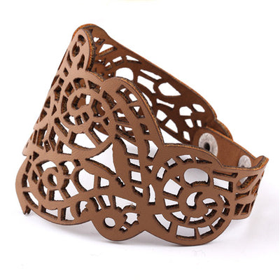 Viking/Norse Lacy Cutout Leather Bracelet 20-21 cm in Coffee, Turquoise, White Or Black Women