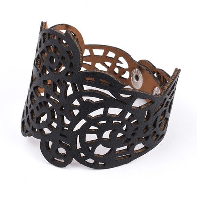 Viking/Norse Lacy Cutout Leather Bracelet 20-21 cm 4 Colors