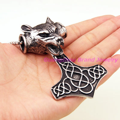 "Viking/Norse Wolf Silver Thor's Hammer 3"" Pendant Stainless Steel"