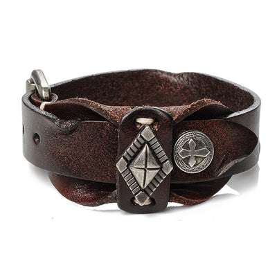 "Vintage Leather Bracelet Brown or Black Charms Adjusts 7-9"" Unisex"