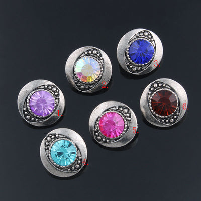 Set of 6 Rhinestone on Silver-Tone Zinc Snap Buttons 12MM Unisex