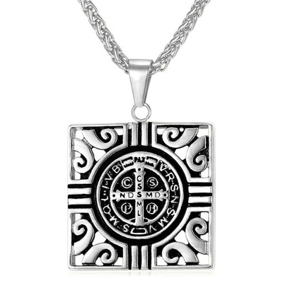 "Square Ancient Cross Gold or Silver Stainless Steel Pendant and 20 "" Necklace"