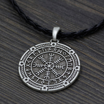 Viking Helm of Awe Icelandic Rune Silver Zinc Pendant Cord Necklace Unisex