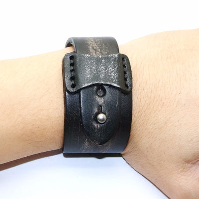 "Grunge Black Leather Bracelet 9.6"" Adjustable Retro Style Unisex"