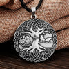 Viking Yggdrasil World Tree Zinc Silver or Bronze Pendant Rope Necklace