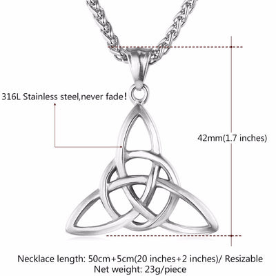 Viking/Norse  Celtic Knot Pendants Gold-Plated Stainless Steel with Chain Unisex